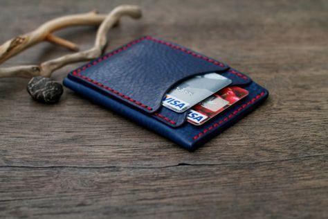 Tarjeta monedero de cuero titular de la tarjeta carpeta de