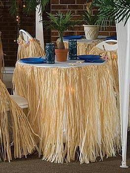 Our Raffia Table Skirt is a great table decoration for a tropical or luau theme. Each skirt measures 29 inches high x 9 ft long.
