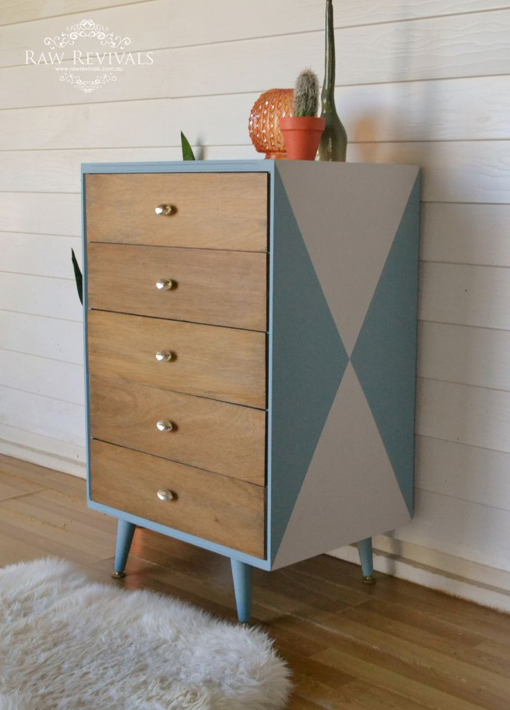 Original Mid Century Chest Of Drawers Painted With A Geometric Pattern And Timber Drawers