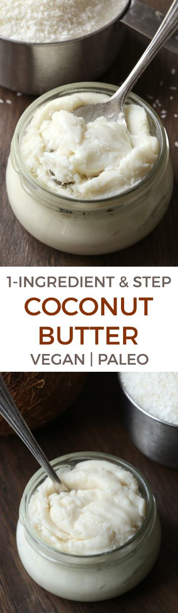 Homemade Coconut Butter – super easy and all you need is shredded coconut and a food processor or high-speed blender! Naturally #paleo, #vegan, and #glutenfree.
