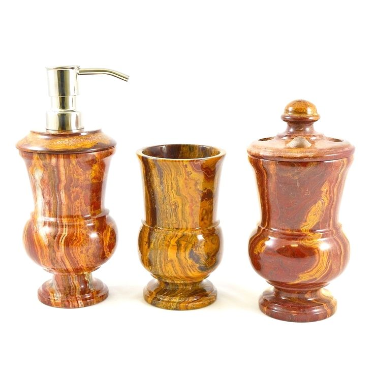 A elegant addition to your bathroom suite, this 3-Piece Bathroom Accessories Set is crafted of exotic multi onyx. The warm tones will complement any bathroom decor. The set is part of the Nature Home