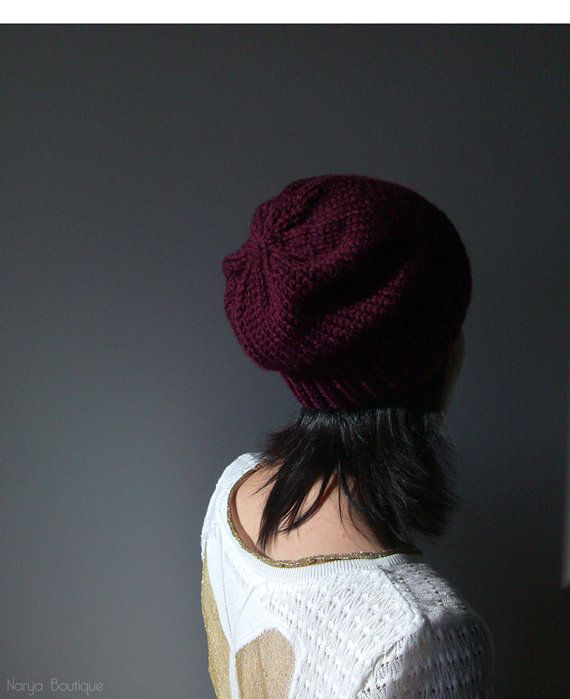 Dark Violet Slouchy Hat Hand Knit Chunky Slouch by naryaboutique