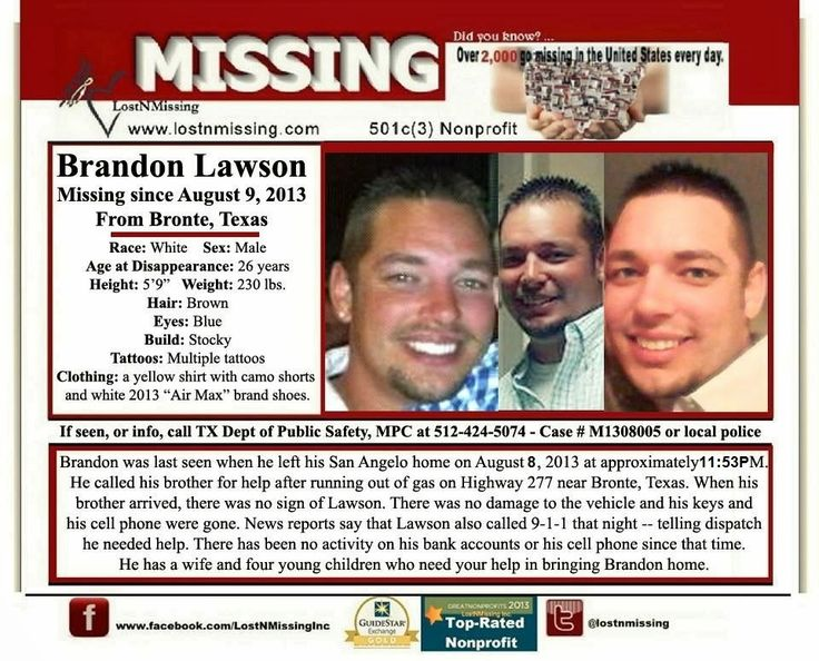 Missing Brandon Lawson, San Angelo, Texas