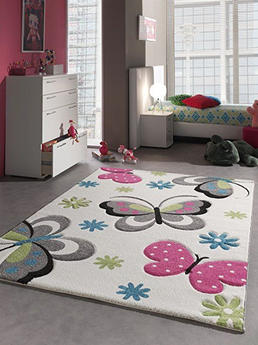 Children's Rug with Butterfly Design for Children's Bedroom Play Mat Animal Designs - Non-Toxic - Cream Pink Green Blue, Plastic, beige, 80 x 150 cm: Amazon.co.uk: Kitchen & Home