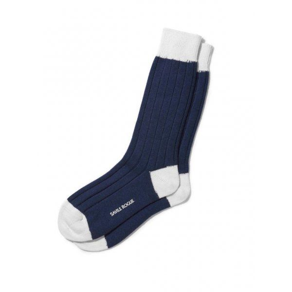 Wool Cashmere Blend Football-Style Socks in Navy and White