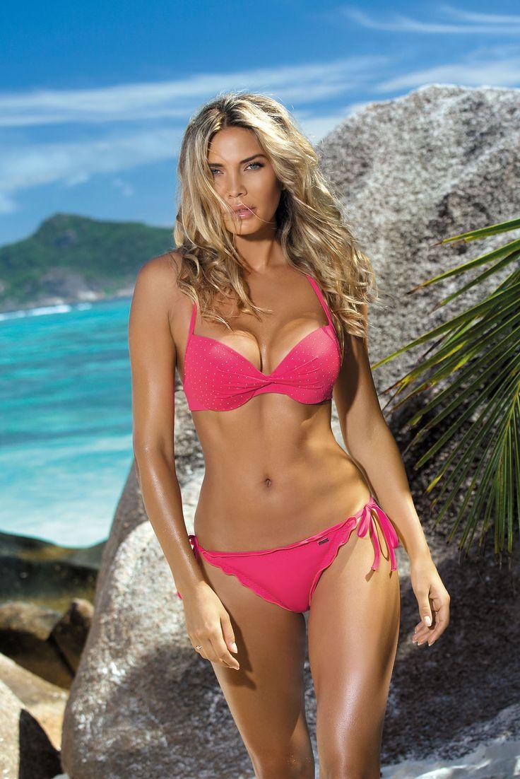 Lovely Waves Coral Swimsuit, crystal embellished details, adjustable bikinis, back fastening and adjustable tie neck bra, bra with…
