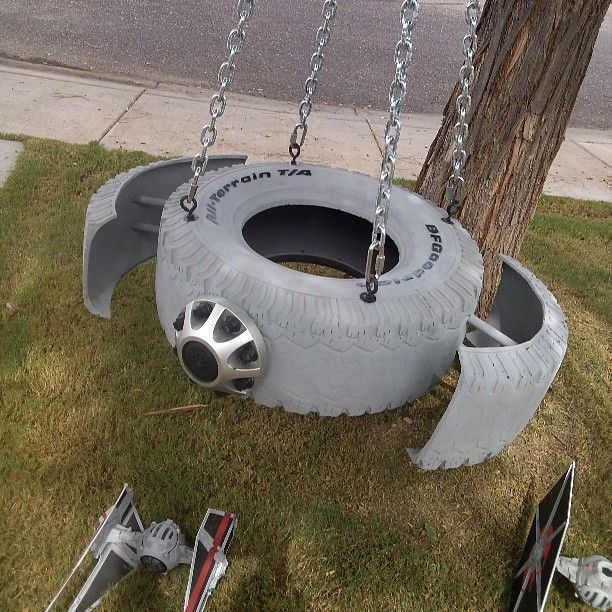 A creative tire swing that's out of this world