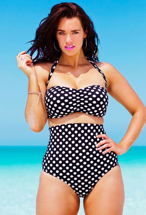 Swim Sexy Polka Dot Plus Size Bandeau/Halter High Waist Bikini | 33 Beautiful Swimsuits For Girls With Big Boobs