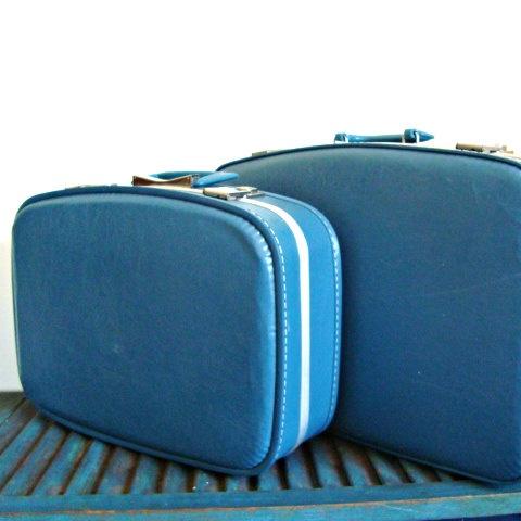 Pan Am Style Blue Hard Case Luggage Set by BoxumBearsBoutique, $28.00