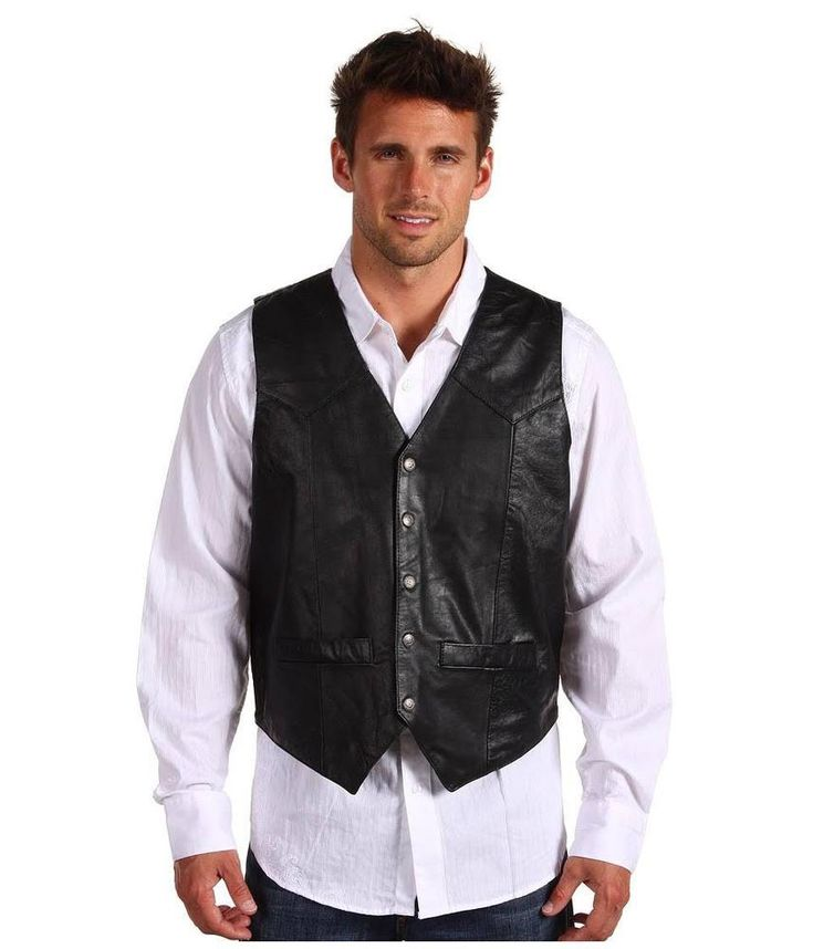 Roper Western Vest Mens Leather Vest Snap Size XL Black 02-075-0520-0500 BL #Roper #Western