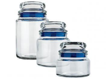 Conjunto Pote de Vidro Redondo 3 Peças com Tampa - Euro Home VDR9040