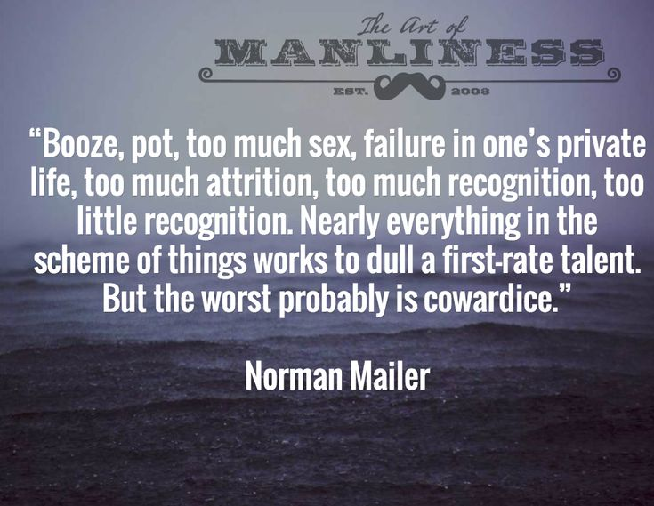"""Booze, pot, too much sex, failure in one's private life, too much attrition, too much recognition, too little recognition. Nearly everything in the scheme of things works to dull a first-rate talent. But the worst probably is cowardice.""  Norman Mailer"