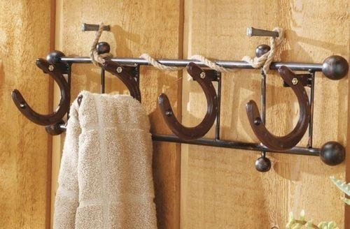 DIY Horseshoe Towel Rack, Horse Shoe Wall Hooks Hanger Cowboy Western Bathroom Home Decor | eBay...I will have this.  Dad's homeakeover