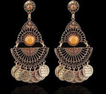 Античная винтаж мода большой длинный в индийском стиле ретро монеты кисточкой роскошные мотаться. Оптовая продажа Brincos 2014(China (Mainland))