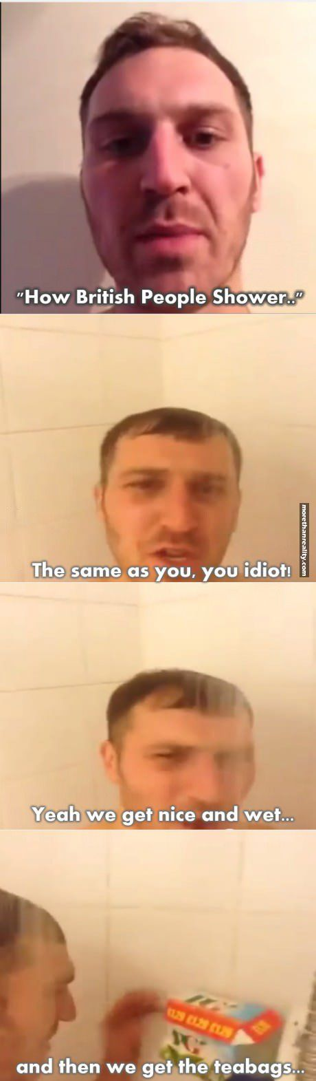How British people shower