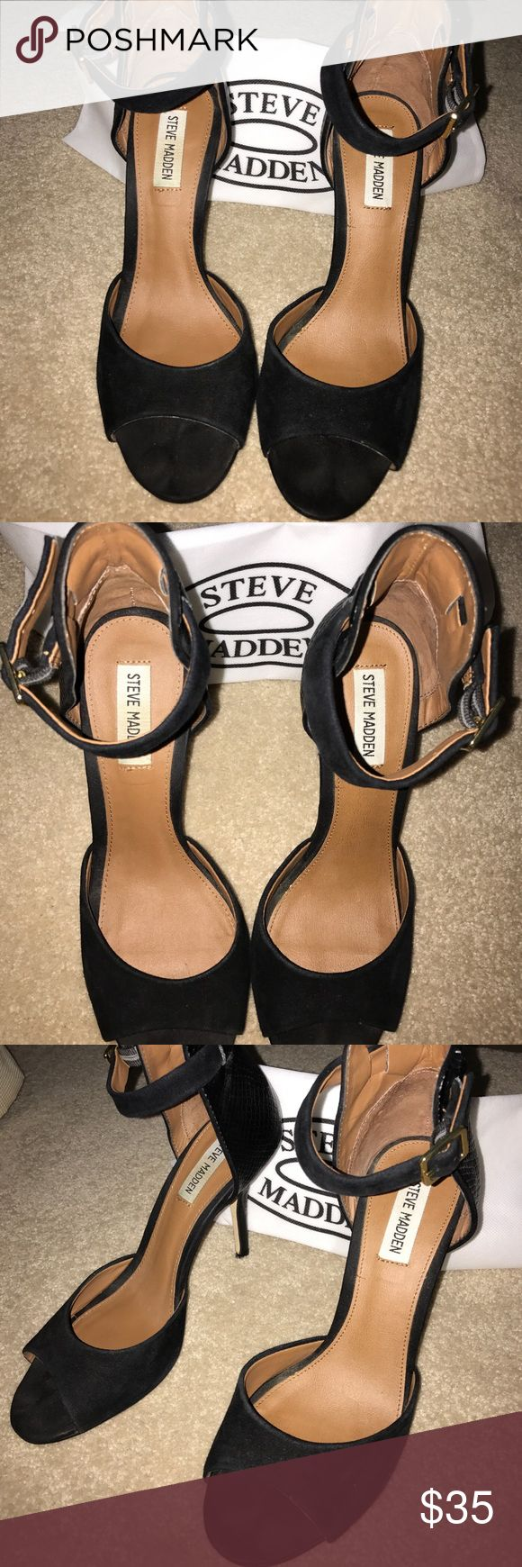 """Steve Madden Black Heels Gently used Black """"stepout"""" Steve Madden suede and leather high heels. Size 8, would also work for 8.5. Ankle strap heels, heel height is 3.5. Worn out twice, right back has some wear. Super comfortable and stylish shoe, in great condition! Comes with cloth bag. Steve Madden Shoes Heels"""