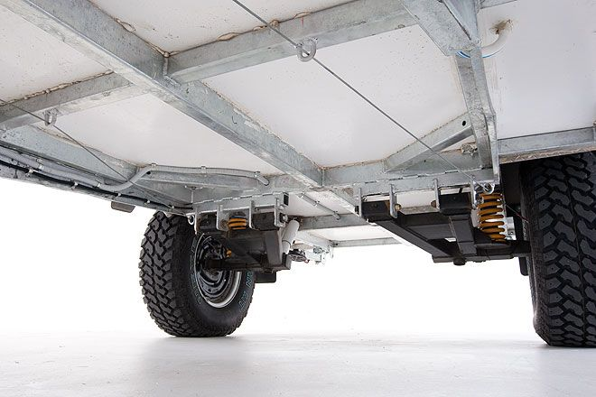 Hot dipped galvanised chassis. Trailing arm independent suspension