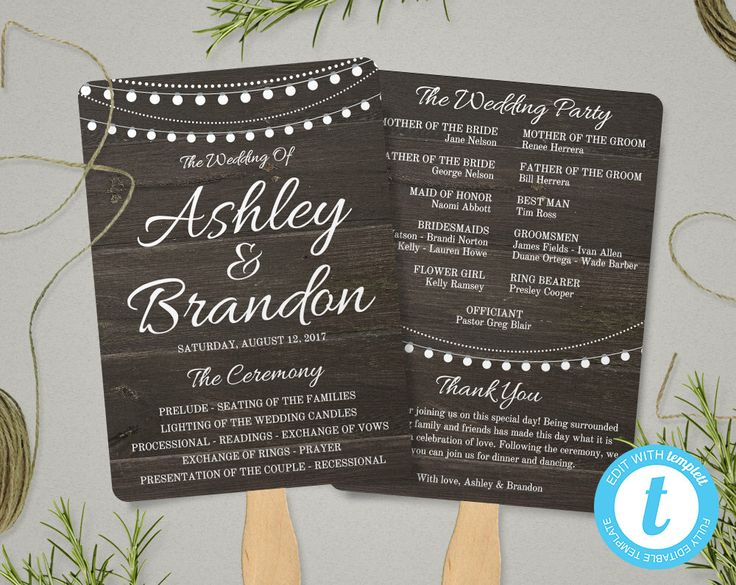 Rustic Wedding Program Fan Template Ceremony