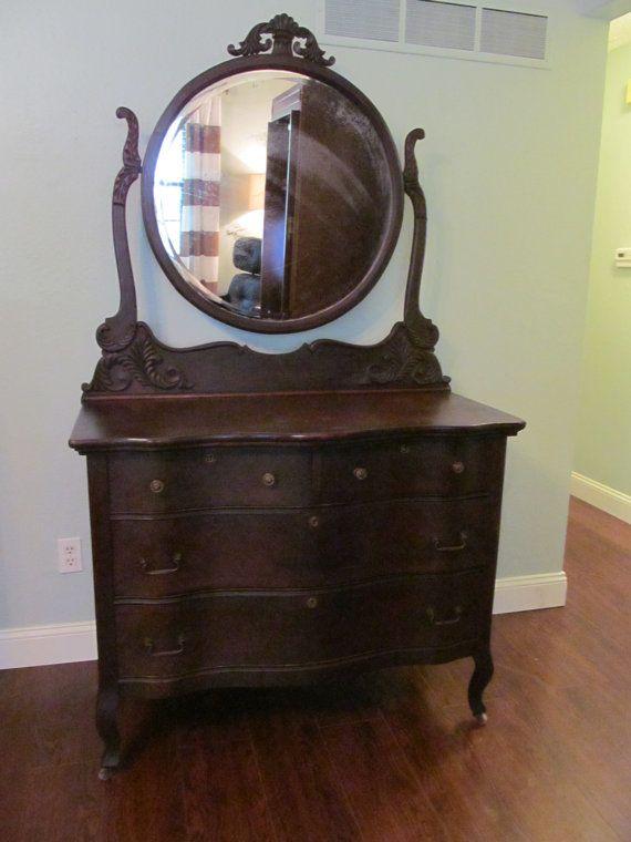 Sold Victorian Dresser With Round Mirror By