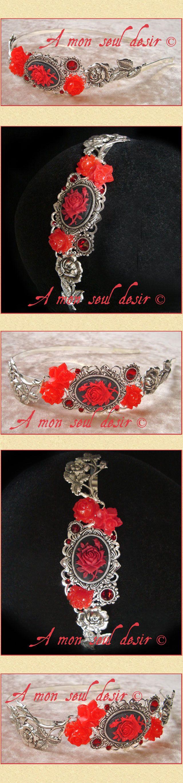 """A mon seul desir : Serre-tête floral romantique victorien gothique rose rouge fleurs Strass Swarovski rouge rubis gothic lolita """"Gage d'Amour"""""""