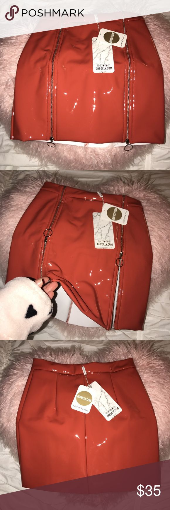 Oh Polly Zip It Real Good Vinyl Skirt in Orange •Zip It Real Good Vinyl Skirt in Orange  •Size UK8/US4 (Runs too small, too small for my ass. Recommend slender shape) •Condition: Brand new, never worn. Tags are attached  •Brand: Ohpolly ohpolly Skirts Mini