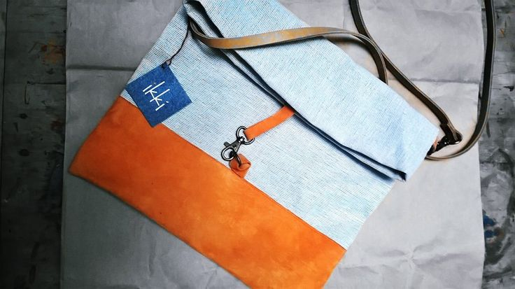 canvas bag with goat leather  ikki desigened by niki nepper