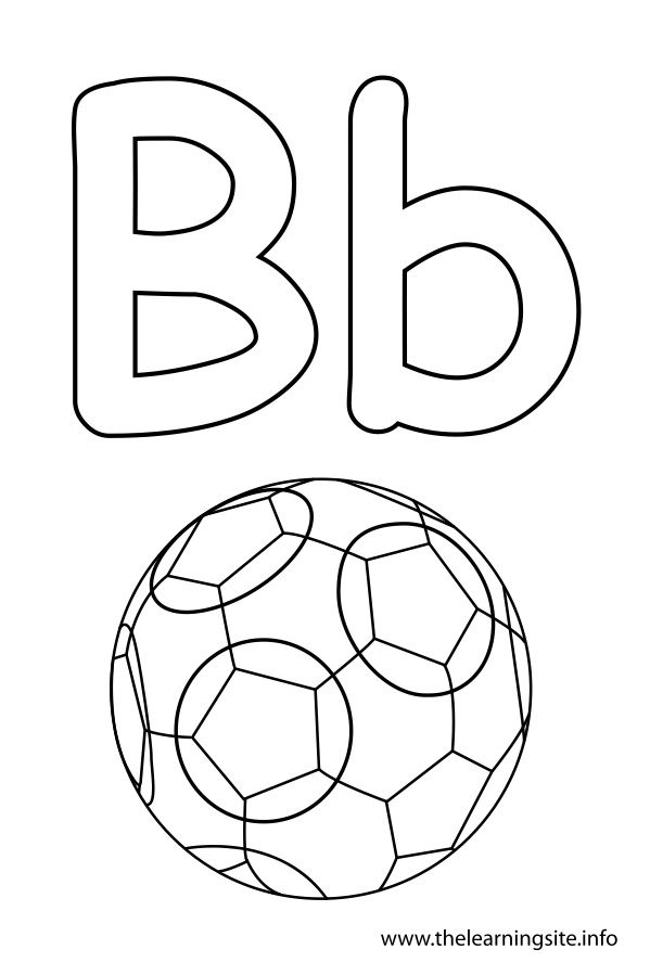 letter b coloring page ball