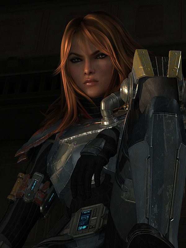 Shae Vizla, bounty hunter from Star Wars: the Old Republic. As much as I hate to say it, she looks like she could give Samus a run for her money