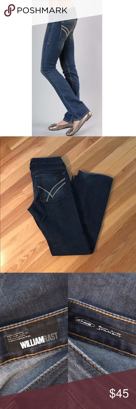 William Rast Sadie Slim and Straight Jeans Super comfortable jeans! Designer is William Rast and style is the Sadie Slim and Straight jean. Purchased at Nordstrom. Pics 1 and 4 are stock photos. Slight wear in the bottom but otherwise new condition. William Rast Jeans
