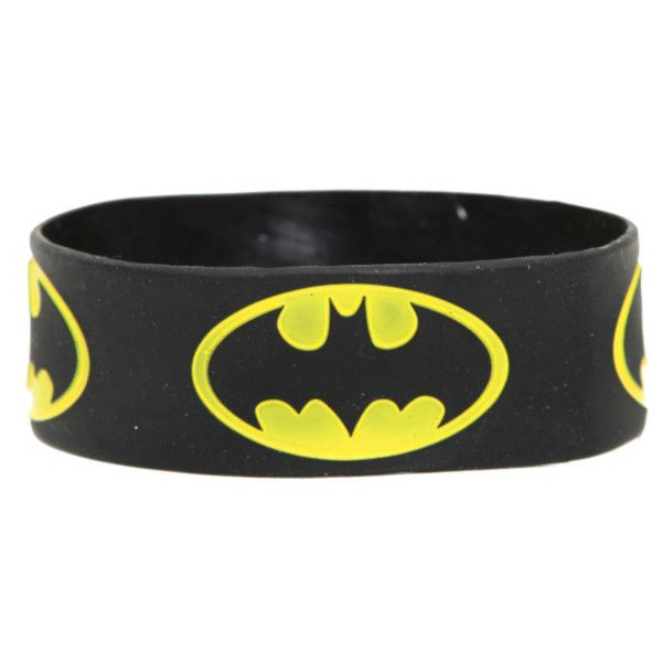 DC Comics Batman Logo Rubber Bracelet | Hot Topic (200 UYU) ❤ liked on Polyvore featuring jewelry, bracelets, batman, bracelet jewelry, rubber bracelet, logo jewelry, rubber bangles and rubber jewelry