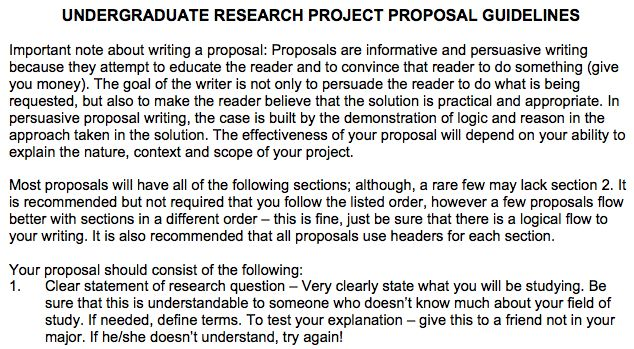 Undergraduate Research Project Proposal Guidelines #316 teaching - project proposal format