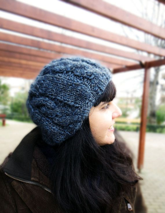 Women's slouchy knit hat grey blue knit hat winter knit hat by AlkistiKnits
