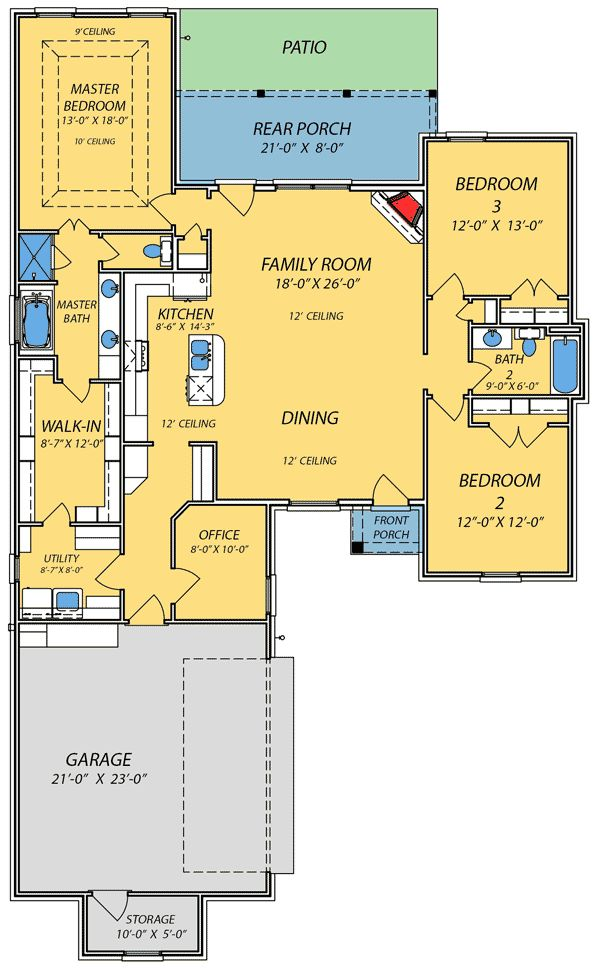 Spacious Open Floor Plan - 83845JW | 1st Floor Master Suite, CAD Available, Den-Office-Library-Study, Narrow Lot, PDF, Photo Gallery, Southern, Split Bedrooms, Traditional | Architectural Designs
