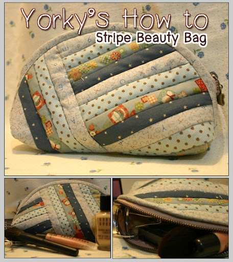 stripe beauty bag - step by step