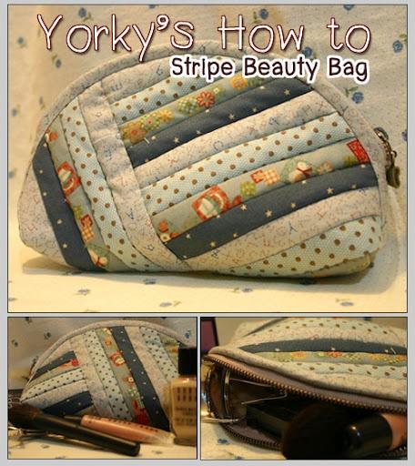 stripe beauty bag - step by step