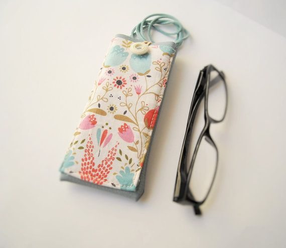 Pastel eyeglass case with lanyard necklace pale blue by Lunica
