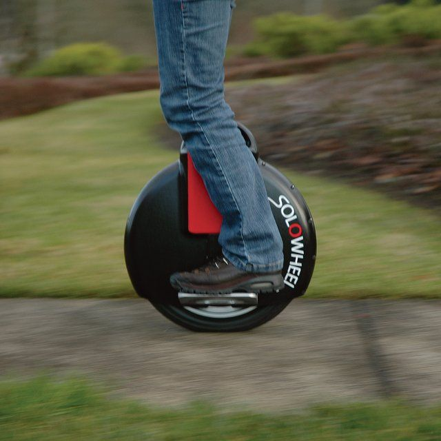 Solowheel.  Solowheel by Inventist. Kind of like a unicycle for the modern age.  Range: 10 miles per charge. Speed: 0-10 MPH. Recharge time: 1 hour. Weighs just 26 pounds.