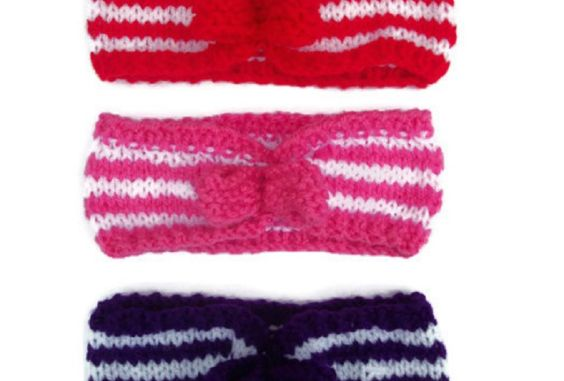 Candy Stripe Hairband, Baby, Ladies/Teens - Hand Knitted