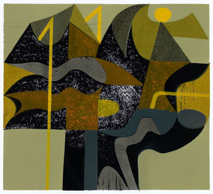 'Mountain Structure' woodcut and stencil print by printmaker Peter Green OBE RE http://www.stjudesprints.co.uk/collections/peter-green