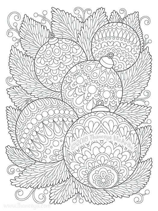 Christmas Ornaments Coloring Page By Thaneeya Dreaming Of A White