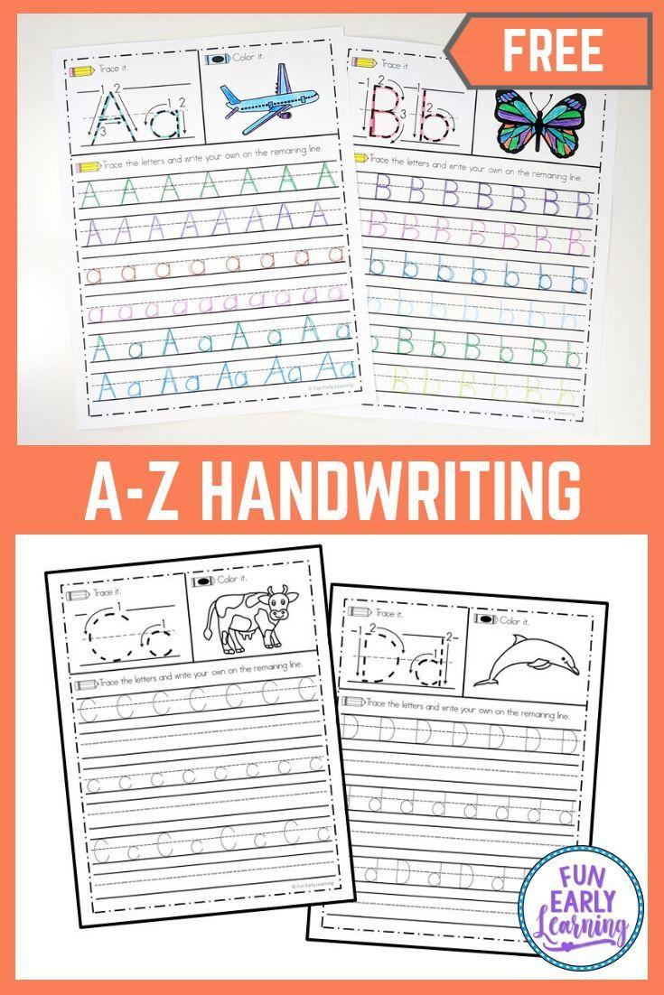 A Z Handwriting Practice No Prep Worksheets For Learning Letters Handwriting Worksheets For Kids Handwriting Practice Worksheets Kids Handwriting Practice [ 1102 x 735 Pixel ]