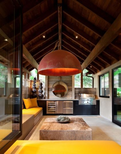 built in seating - SB Architects: Interior, Idea, Outdoor Kitchens, Hillside House, Sb Architects, Light Fixture, Modern Patio, Design