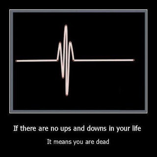 This is one of my favorite sayings. I almost got the heartbeat tattooed on my arm to remind me of this. I'm alive! There will be ups & downs..