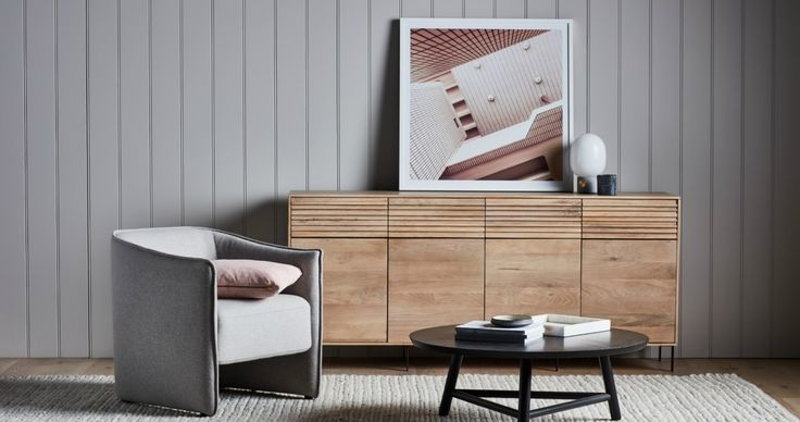 scandi and japanese design blonde timber sideboard and armchair from globewest