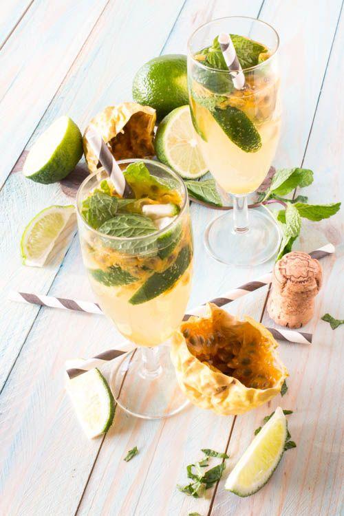 Mojito royal au champagne et fruit de la passion