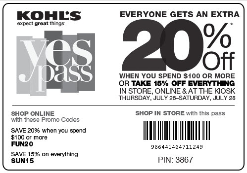 Kohl's Yes Pass! Save 15 - 20%: Online Mall, Save 15, Kohls, Mall Deals