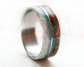 Mens Wedding Band - Copper, Turquoise, Antler Titanium ring Antler Ring