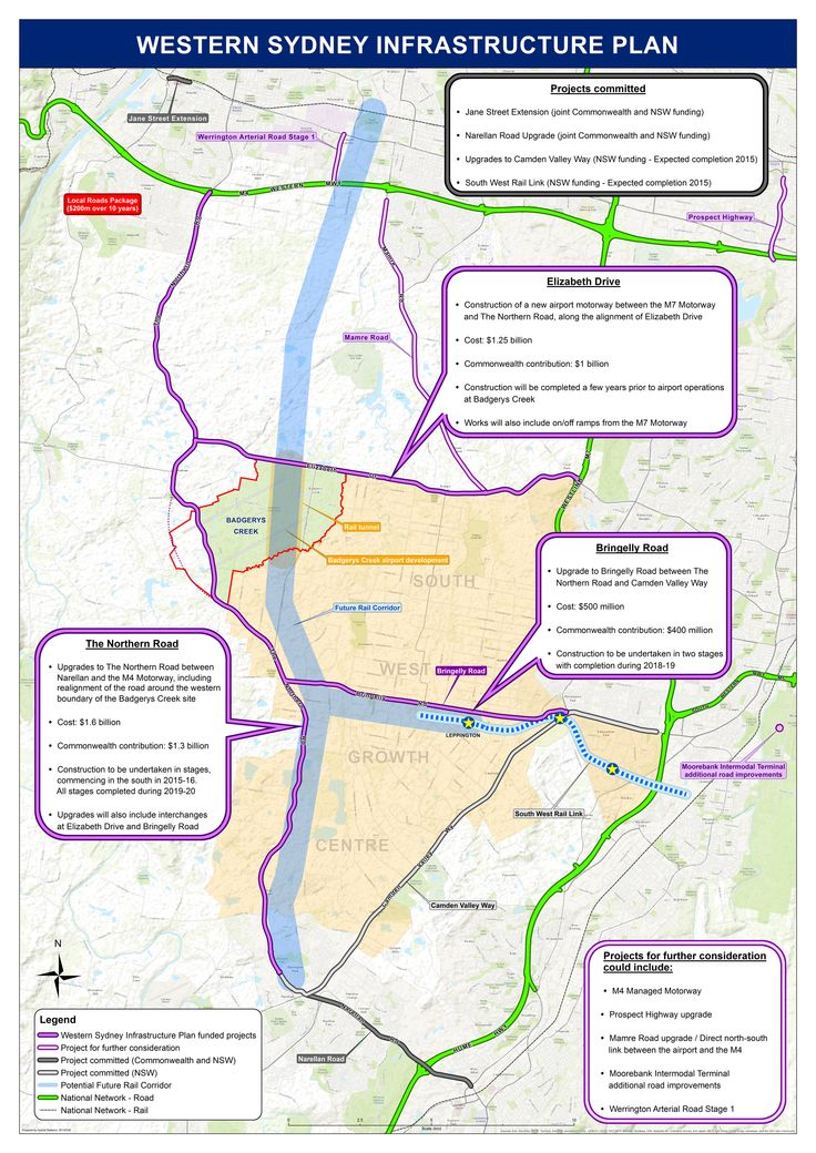3 major road improvements - The Northern Road, Bringelly Road, and a motorway along Elizabeth Drive - as well as a rail line from Leppington through the airport and through to the Western Line, are planned to support an airport at Badgerys Creek. Click to enlarge - the image is quite large. (Source: Department of Infrastructure and Regional Development.)