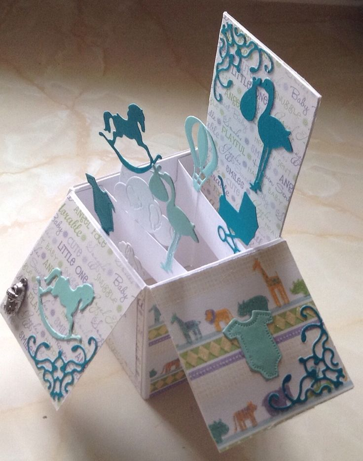 Baby Boy Box Card with the use of Dies and charm