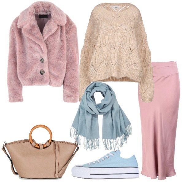 huge discount d655f b91a7 Teneri colori pastelli per questo outfit trendy: gonna rosa ...